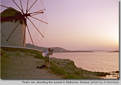 Shooting the sunset at Mykonos, Greece