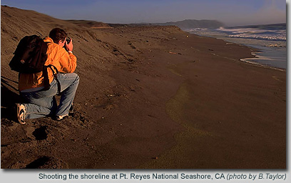 Shooting the shoreline at Pt. Reyes, California